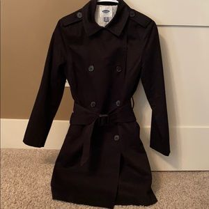 OLD NAVY Cotton Knee Length Trench Coat Black XS